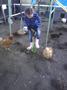 Farm Girl digging in the dirt for an appreciative audience with gymnastic apparatus in the background.