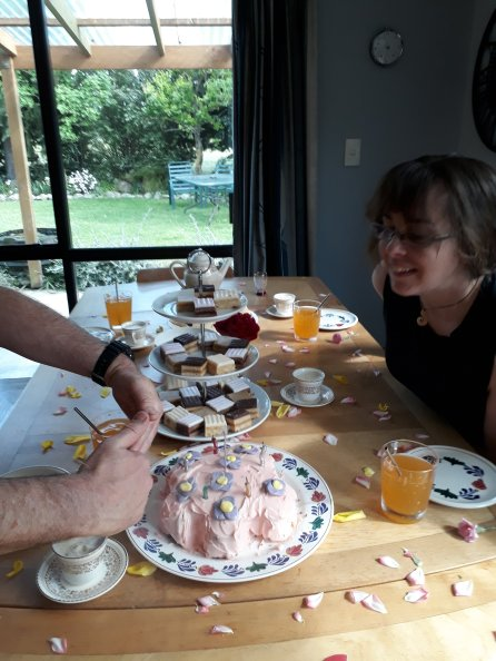 And The Goat Herd got a ladies tea party, complete with pink, flowery cog cake - she is an engineer, after all